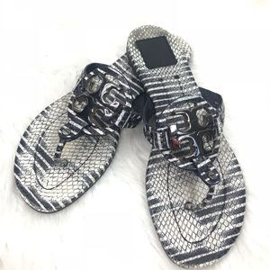 Tory Burch Navy White Silver Hardware Sandals 8.5M